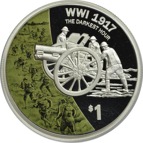 Vorderseite :Neuseeland : 1 Dollar Artillerie - 5 Jahres Serie WW1  2017 PP