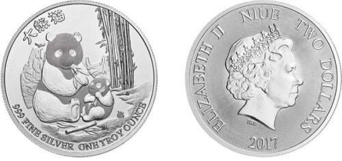 Lieferumfang :Niue : 2 Dollar Panda  2017 Stgl.