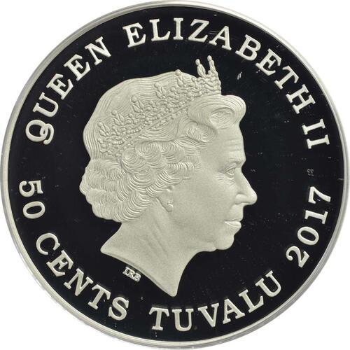 Rückseite :Tuvalu : 50 Cent Polarbabies - Kaiserpinguin  2017 PP