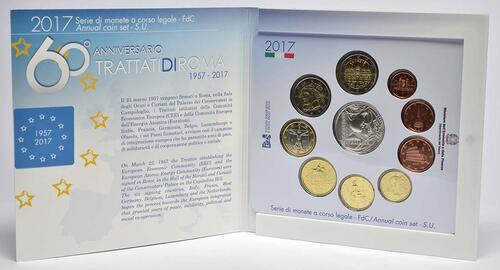 Lieferumfang :Italien : 10,88 Euro KMS Italien Römische Verträge inkl. 2 Euro Gedenkmünze  2017 Stgl.