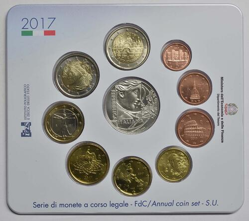 Vorderseite :Italien : 10,88 Euro KMS Italien Römische Verträge inkl. 2 Euro Gedenkmünze  2017 Stgl.