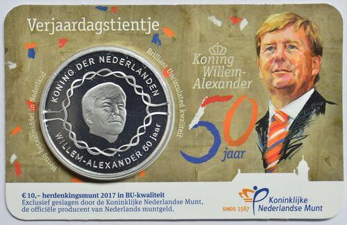 Lieferumfang :Niederlande : 10 Euro 50 Jahre König Willem Alexander  2017 Stgl.