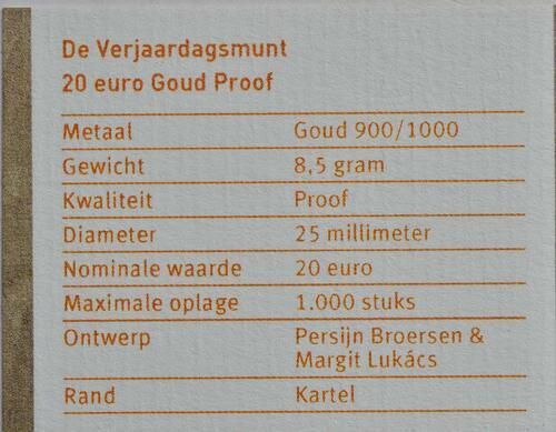 Zertifikat :Niederlande : 20 Euro 50 Jahre König Willem Alexander  2017 PP