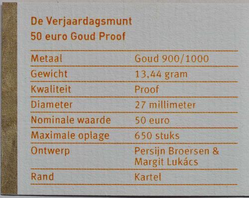 Zertifikat :Niederlande : 50 Euro 50 Jahre König Willem Alexander  2017 PP