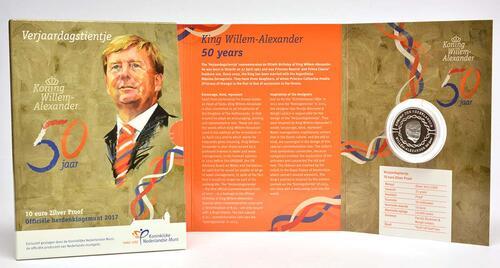 Lieferumfang :Niederlande : 10 Euro 50 Jahre König Willem Alexander  2017 PP