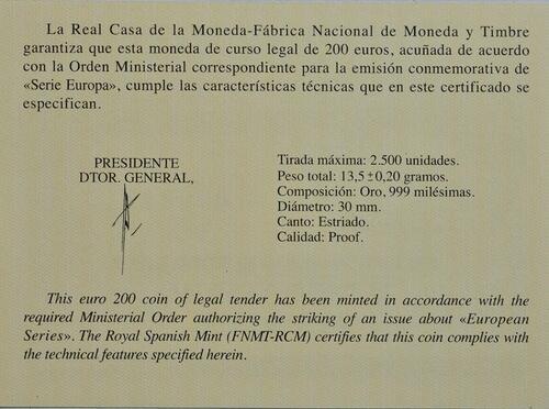 Zertifikat :Spanien : 200 Euro Zeitalter von Stahl und Glas  2017 PP