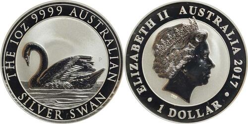 Lieferumfang :Australien : 1 Dollar Schwan  2017 Stgl.