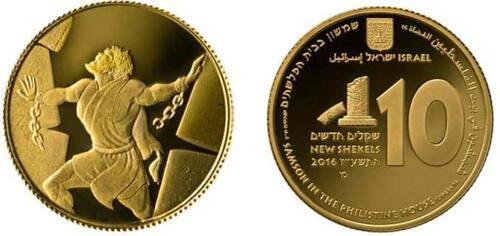 Lieferumfang :Israel : 10 Sheqel Samson und die Philister - Biblische Kunst  2016 PP