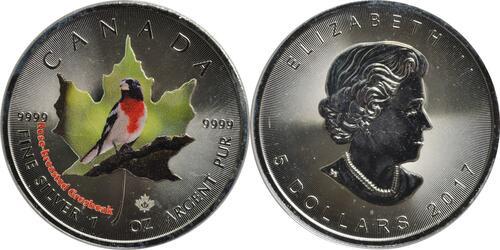 Lieferumfang :Kanada : 5 Dollar Maple Leaf - Vögel - Rose-Breasted Grosbreak  2017 Stgl.