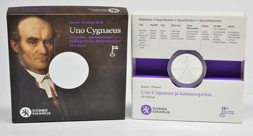 Lieferumfang :Finnland : 10 Euro Uno Cygnaeus  2016 PP