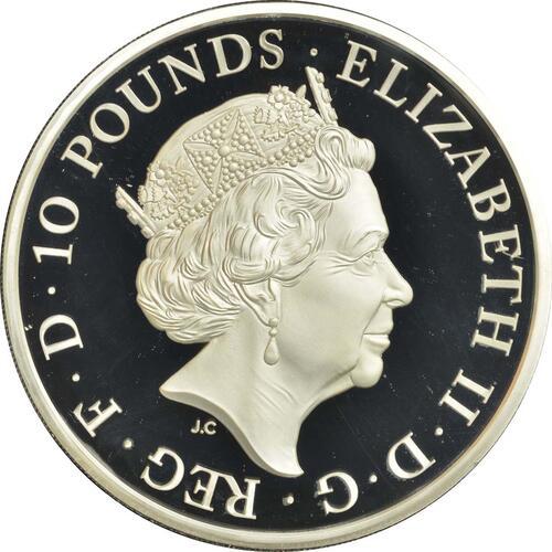 Rückseite :Großbritannien : 10 Pfund Queen
