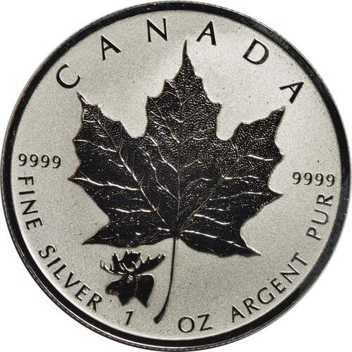 Vorderseite :Kanada : 5 Dollar Maple Leaf - Privy Mark - Elch  2017 Stgl.