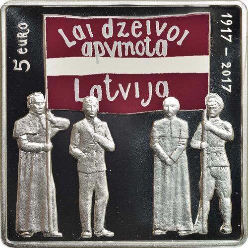 Vorderseite:Lettland : 5 Euro Latgale lettischer Kongress  2017 PP