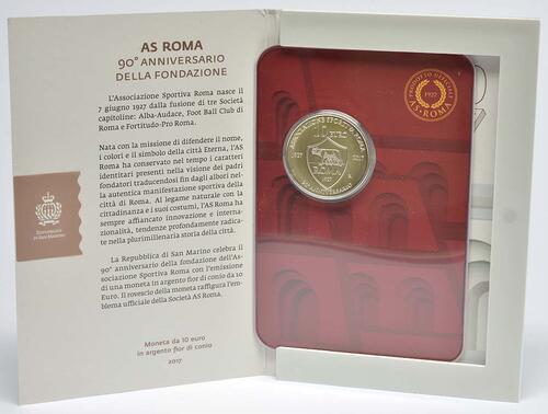 Lieferumfang:San Marino : 10 Euro 90. Jahrestag der Gründung von AS Roma  2017 Stgl.