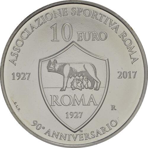 Vorderseite:San Marino : 10 Euro 90. Jahrestag der Gründung von AS Roma  2017 Stgl.
