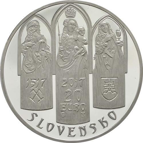 Rückseite:Slowakei : 20 Euro St. Jakobs Kirche in Levoca  2017 PP