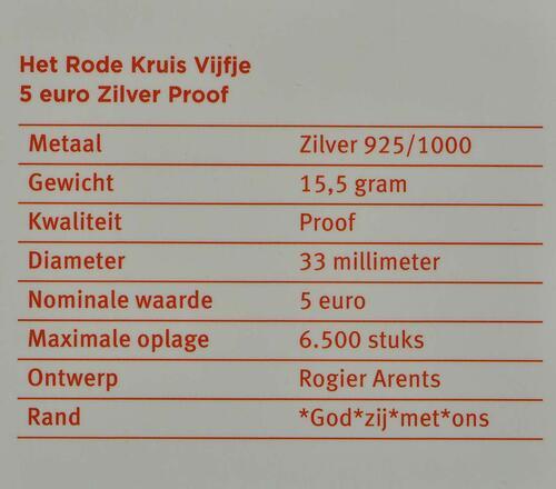 Zertifikat:Niederlande : 5 Euro 150 Jahre Niederländisches Rotes Kreuz  2017 PP
