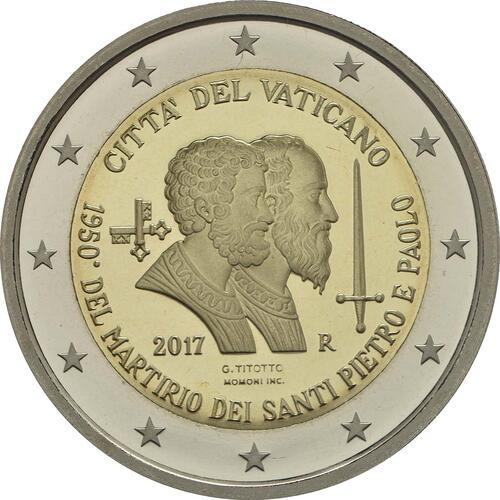 Rückseite:Vatikan : 2 Euro 1950. Jahrestag des Martyriums von St. Peter und Paul  2017 PP