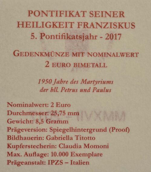 Zertifikat:Vatikan : 2 Euro 1950. Jahrestag des Martyriums von St. Peter und Paul  2017 PP