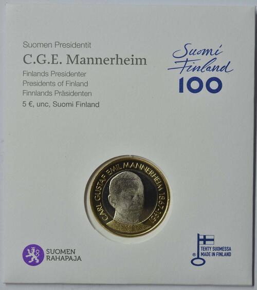 Lieferumfang :Finnland : 5 Euro Mannerheim  2017 Stgl.