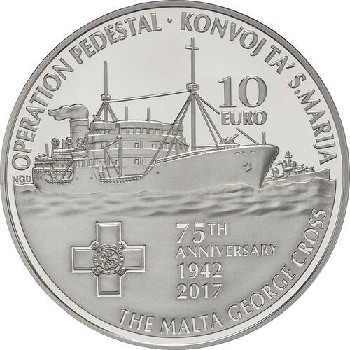 Vorderseite:Malta : 10 Euro Operation Pedestal - Santa Maria Convoy  2017 PP