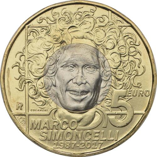 Rückseite:San Marino : 5 Euro 30. Geburtstag Marco Simoncelli  2017 Stgl.