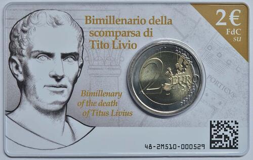 Lieferumfang:Italien : 2 Euro 2000. Todestag von Titus Livius  2017 Stgl.