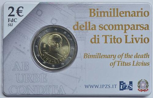 Zertifikat:Italien : 2 Euro 2000. Todestag von Titus Livius  2017 Stgl.