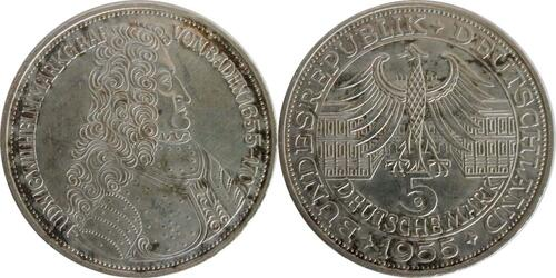 Lieferumfang:Deutschland : 5 DM Markgraf von Baden winz. Kratzer, patina 1955 vz.