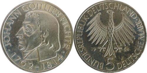 Lieferumfang :Deutschland : 5 DM Fichte  1964 vz/Stgl.