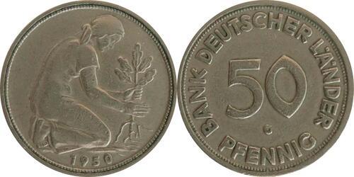 Lieferumfang:Deutschland : 50 Pfennig  Kursmünze Bank deutscher Länder  1950 ss.