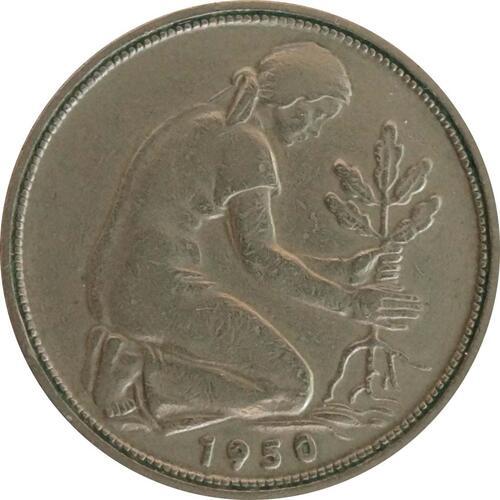 Vorderseite:Deutschland : 50 Pfennig  Kursmünze Bank deutscher Länder  1950 ss.