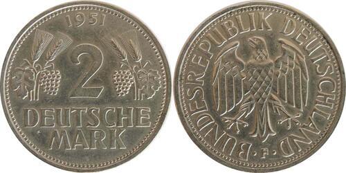 Lieferumfang :Deutschland : 2 DM Ähren  1951 ss/vz.