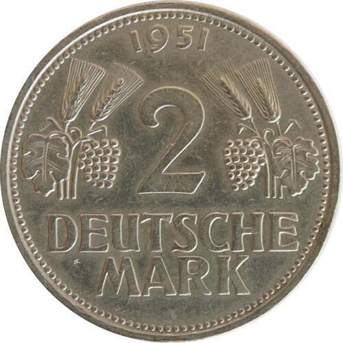 Vorderseite :Deutschland : 2 DM Ähren  1951 ss/vz.