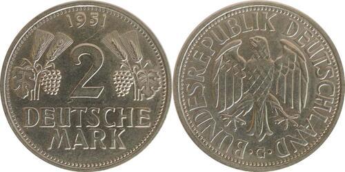 Lieferumfang:Deutschland : 2 DM Ähren  1951 vz/Stgl.