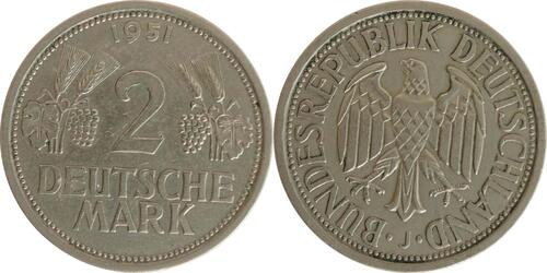 Lieferumfang:Deutschland : 2 DM Ähren  1951 ss/vz.