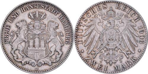 Lieferumfang:Deutschland : 2 Mark Stadtsiegel winz. Kratzer, patina 1906 ss/vz.