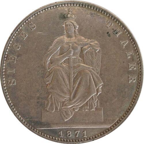 Vorderseite :Deutschland : 1 Siegestaler   1871 vz+