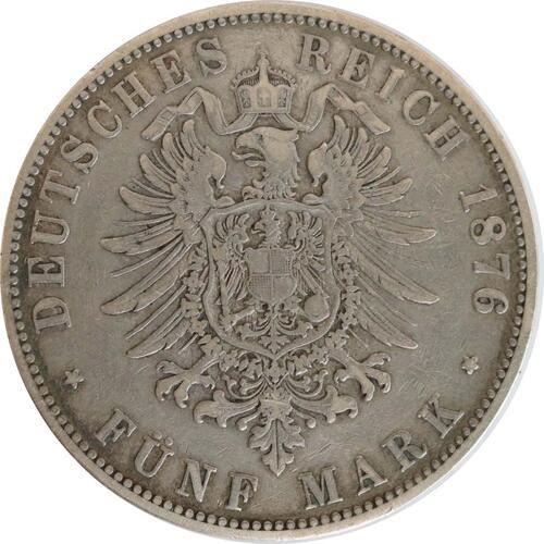 Rückseite:Deutschland : 5 Mark Stadtwappen patina 1876 ss.