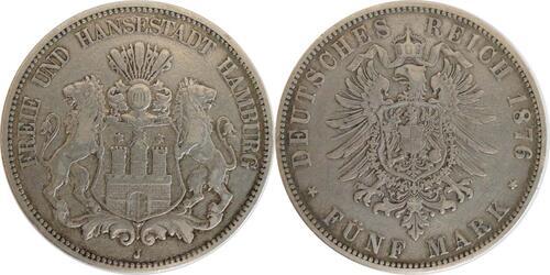 Lieferumfang:Deutschland : 5 Mark Stadtwappen patina 1876 ss.
