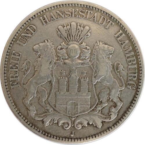 Vorderseite:Deutschland : 5 Mark Stadtwappen patina 1876 ss.