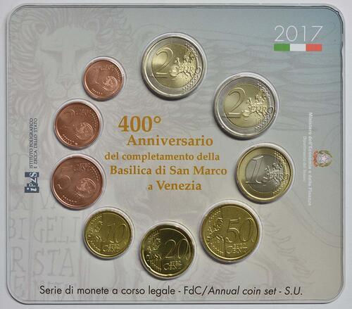 Rückseite :Italien : 5,88 Euro KMS Italien inkl. 2 Euro Gedenkmünze  Basilica di San Marco in Venedig  2017 Stgl.