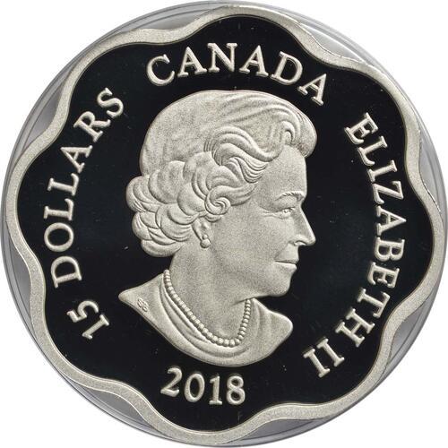 Rückseite :Kanada : 15 Dollar Jahr des Hundes/Lotus - Wellenform  2018 PP