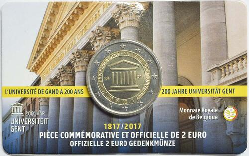 Rückseite :Belgien : 2 Euro 200 Jahre Universität zu Gent  2017 Stgl.