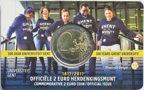 Lieferumfang :Belgien : 2 Euro 200 Jahre Universität zu Gent  2017 Stgl.