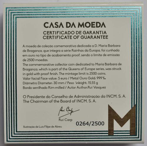 Zertifikat:Portugal : 5 Euro Maria Barbara  2017 PP