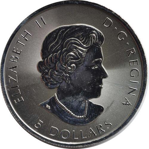 Rückseite:Kanada : 5 Dollar 150 Jahre Canada - Kanu  2017 Stgl.