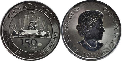 Lieferumfang:Kanada : 5 Dollar 150 Jahre Canada - Kanu  2017 Stgl.
