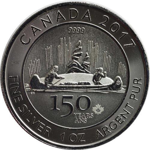 Vorderseite:Kanada : 5 Dollar 150 Jahre Canada - Kanu  2017 Stgl.