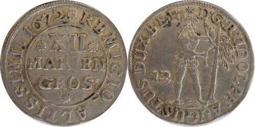 Lieferumfang:Deutschland : 12 Mariengroschen Rudolf August 1666 - 1685 - winz. Prägeschwäche  1672 ss/vz.